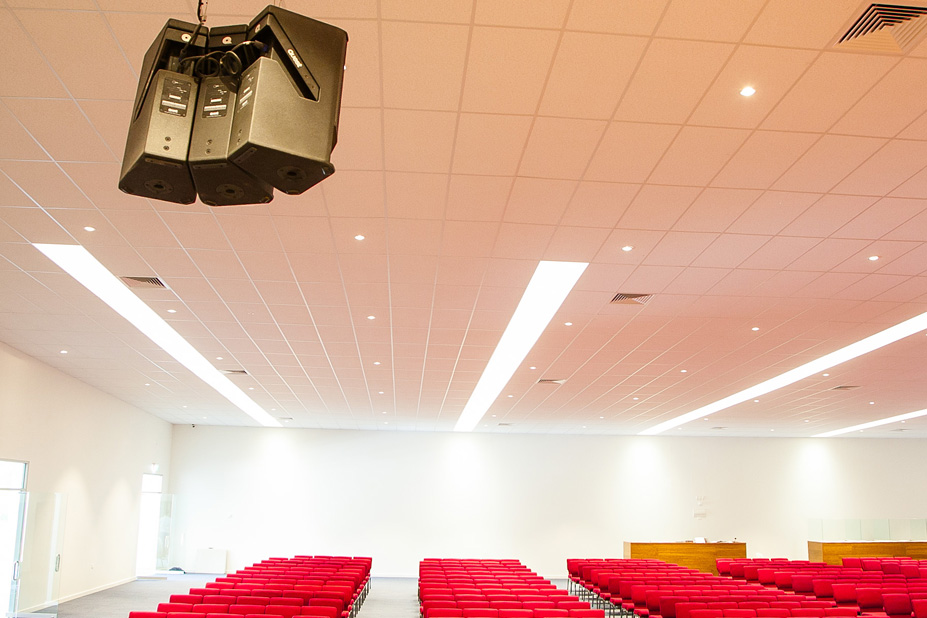 The church can seat over 800 people and the HPI110 system covers all parts of the space with great clarity