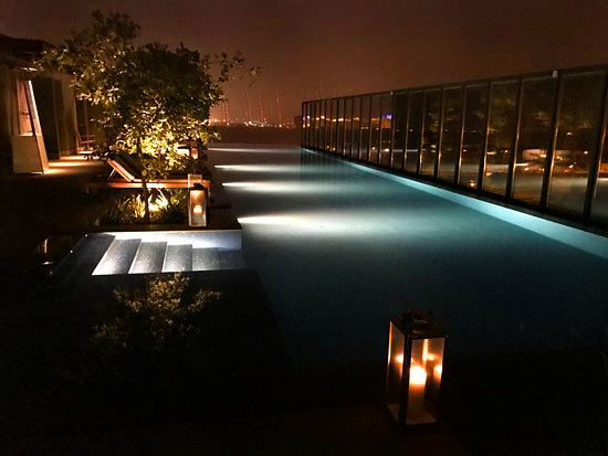 Tara rooftop pool at night